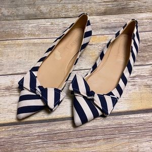 J.Crew pointed bow striped flats 8.5 ballet flats